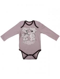 """Боди для малышей коричневого цвета с длинным рукавом """"тедди"""""""