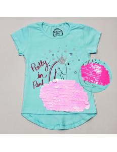 """Футболка ментолового цвета для девочек с пайетками-перевертышами """"Царевна лебедь"""""""
