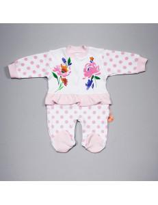 Комбинезон на малышку с цветами в горошек
