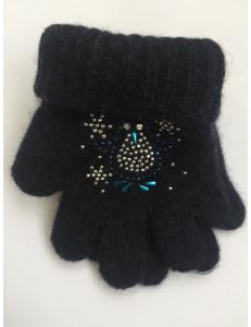 Перчатки зимние темно-синего цвета с пингвином