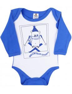 """Боди бело-синее для малышей """"мишка на лыжах"""""""