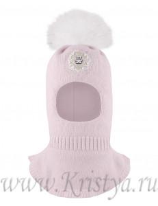 Шапка-шлем для девочек розового цвета с бусинками ОБАЯШКА