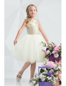 """Платье нарядное с пайетками кремового цвета """"Элегант"""""""