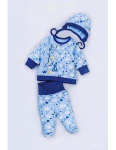 """Комплект на выписку для новорожденного синего цвета """"Жираф"""""""